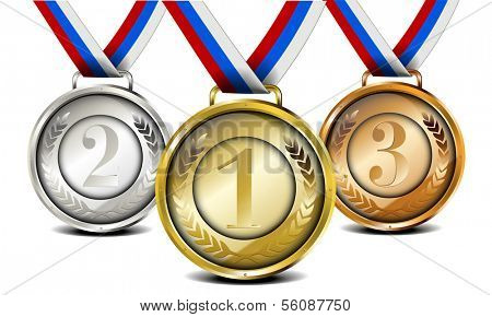 set of ribboned medals with laurel wreath and number, eps10