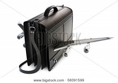 Traveling business black leather suitcase with wings