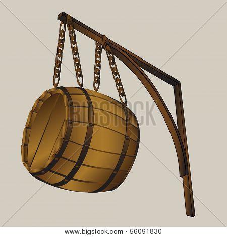 barrel suspended on chains - vector illustration