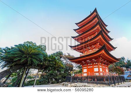 Five Storied Pagoda at Toyokuni Shrine in Miyajima