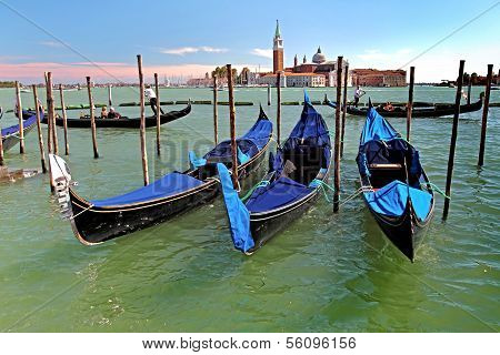 Gondolas On Grand Canal In Venicee