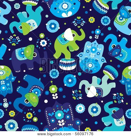 Seamless kids oriental elephant and hamsa hand of fatima pattern wallpaper background in vector