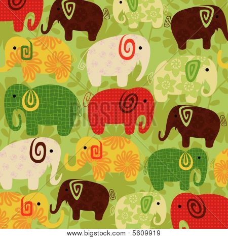 Cartoon Elephant Pattern