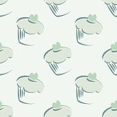 Seamless vector pattern with mint cupcakes, hipster muffins, sweet cake on green background