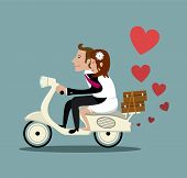 foto of scooter  - Married couple riding on a moped This design could be used in a wide range of wedding stationary. It could also be adapted to suit other purposes such as Valentines day cards.