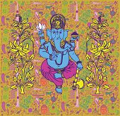 stock photo of ganesh  - Background with Indian god Ganesh - JPG