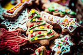 stock photo of ginger bread  - Traditional Christmas colorful home made ginger bread - JPG