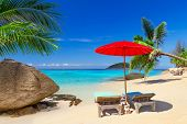 picture of emerald  - Tropical beach scenery with deck chairs in Thailand - JPG