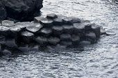 stock photo of reino  - Columnas de basalto de la calzada de los gigantes de Irlanda del Norte - JPG