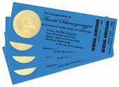 SACRAMENTO, CA - JAN 5, 2007 Four tickets to the Inauguration of California Governor Arnold Schwarze