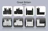 Landmarks of Great Britain. Set of monochrome icons. Editable vector illustration.