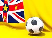 Flag Of Niue With Football In Front Of It