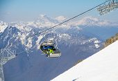 picture of ropeway  - Chairlift on a ski resort - JPG