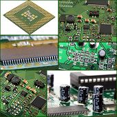stock photo of processor socket  - Collage of macro computer micro circuit board - JPG