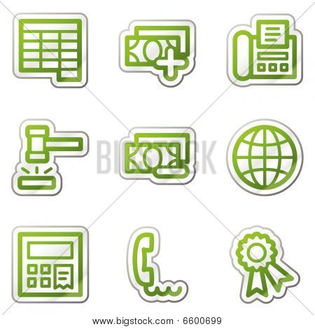 Finance web icons set 2, green contour series
