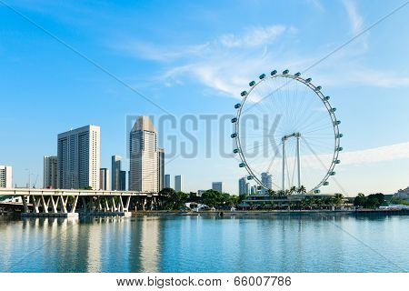 Ferris Wheel In The Modern City