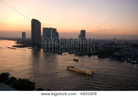 Chao Praya River In Bangkok At Night