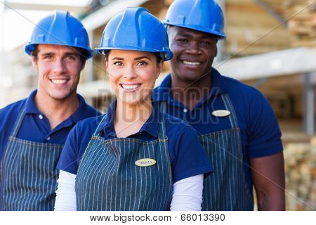 group of DIY store workers close up