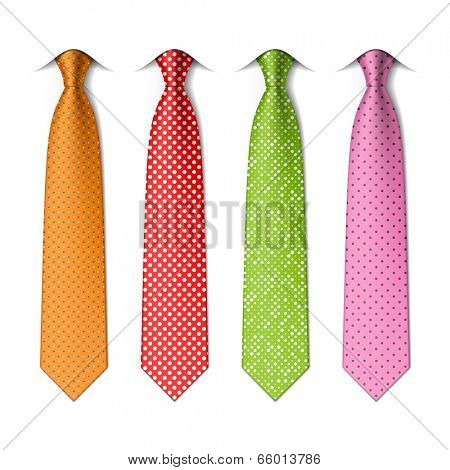 Pin, polka dots silk ties template. Easy editable colors - vector