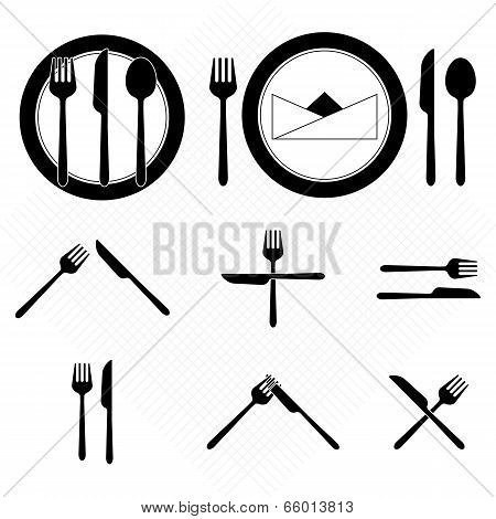 Plate Icons With Fork And Knife Sign
