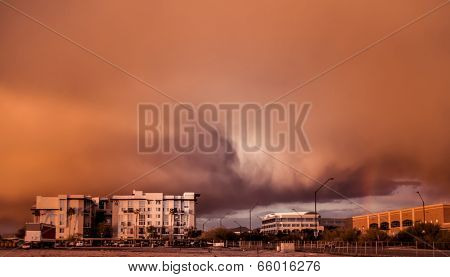Extreme desert weather system called an Haboob, blowing high winds dust storm over Phoenix, Scottsdale,Az, on 12/29/2012 .
