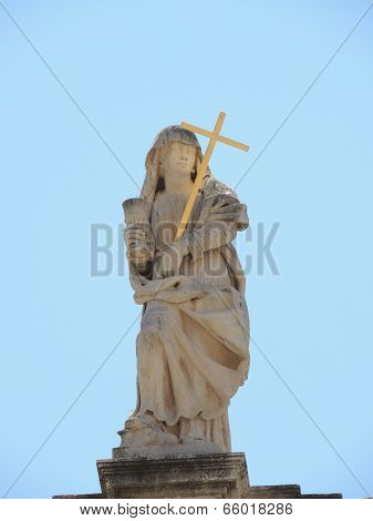 Religious Statue On Rooftop In Dubrovnik, Croatia