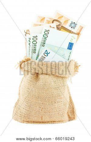Euro paper money in the linen bag
