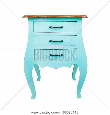 Vintage Wooden Chest Drawer Isolated On White Background