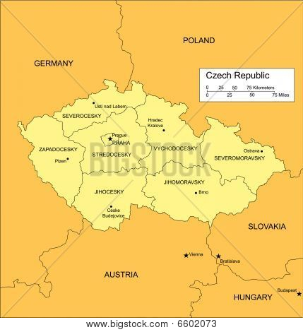 Czech Republic with Administrative Districts and Surrounding Countries