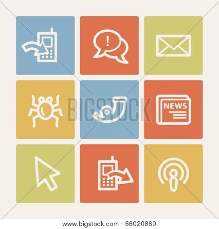 Internet web icon set 2, color square buttons