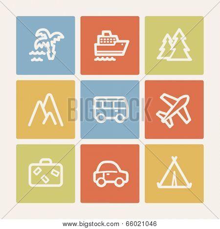Travel web icon set 1, color square buttons