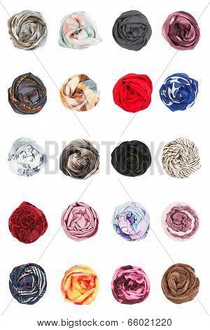 Scarves. Collards of silk scarves folded rosettes