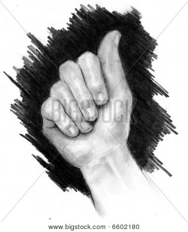 Pencil Drawing of Hand Making Sign for Letter A