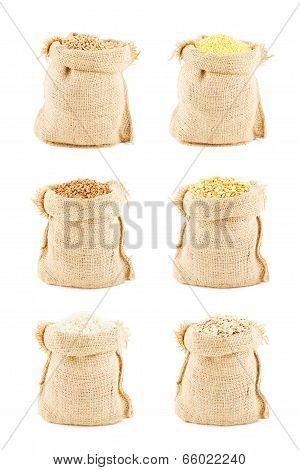 Bags. Collards of linen bags with various cereals