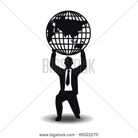 Business And Financial With World / Vector Illustration. Concept