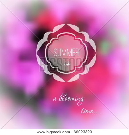Summer pink flowers blurred background