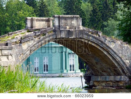 The destroyed bridge and pavilion of Venus in park. Gatchina. Petersburg. Russia