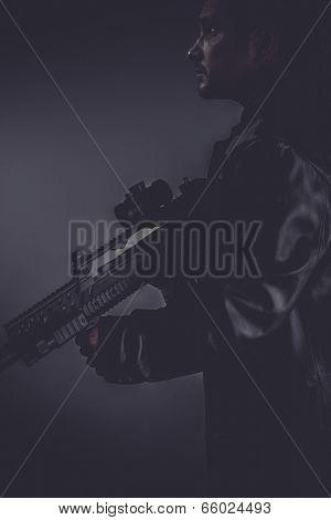 police, portrait of murderer with gun