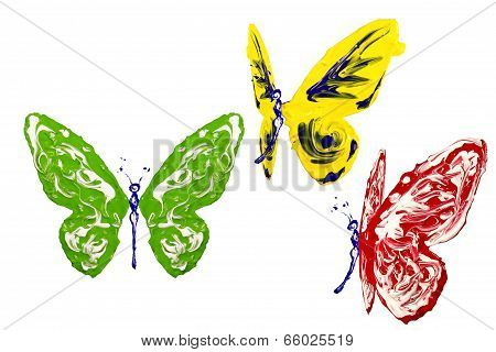 Red Green Yellow White Paint Made Butterfly Set