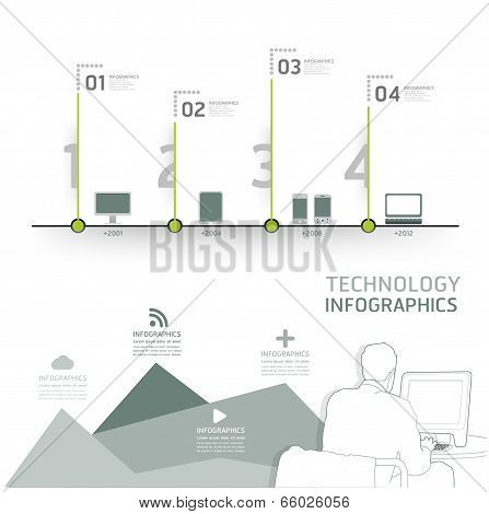 Infographic Technology Design Time Line Template / Can Be Used For Infographics / Numbered Banners /