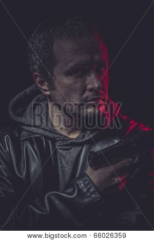 Violence, Assassin, man with black coat and gun