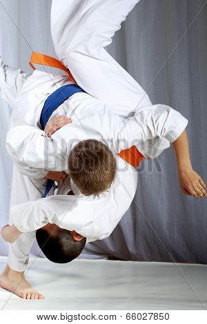 Great nage judo is doing sportsman with a blue belt