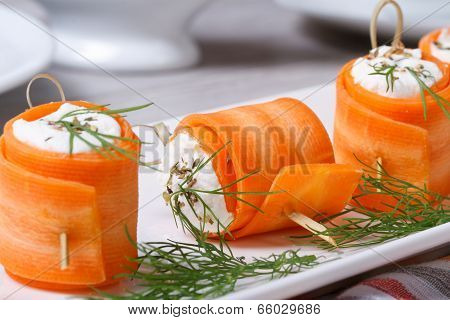 Rolls Of Fresh Carrots With Cheese And Dill Macro