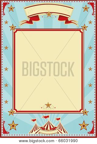 blue and cream sunbeams circus.Vertical circus background for a poster. Ideal for your publicity