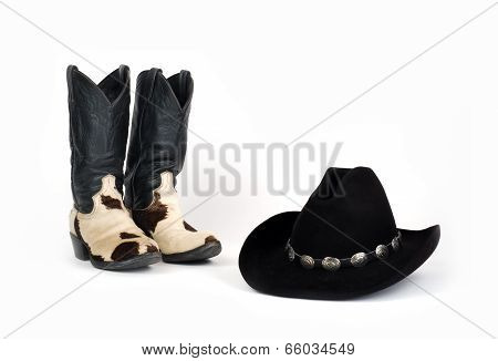 Cow Hide Cowboy Boots and Hat with Concho Hatband.