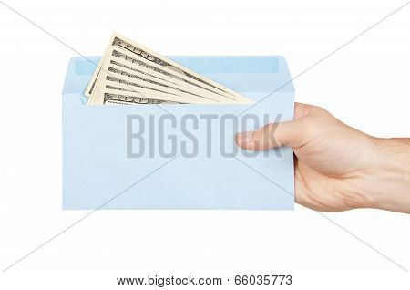 Hand And Money In Blue Envelope