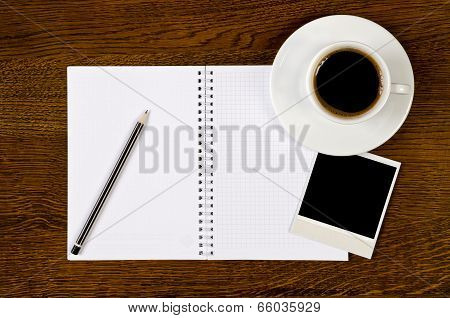 Blank Notebook With Photo Frame And Coffee Cup