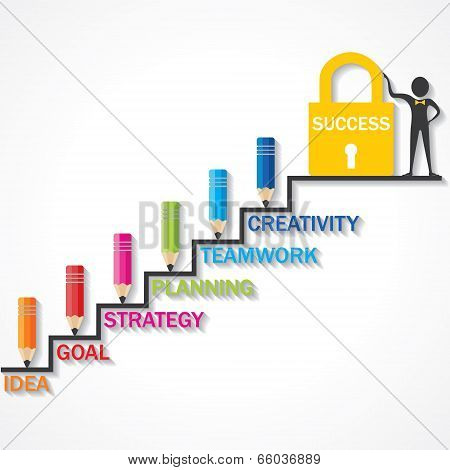 Pencils climb up success stair and business man point to success lock stock vector