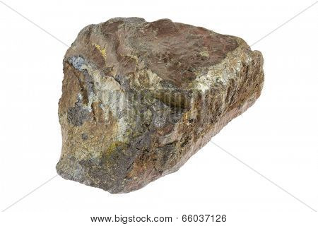 Piece of hematite iron ore isolated on white