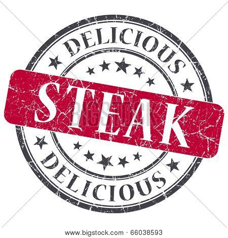 Steak Red Round Grungy Stamp Isolated On White Background